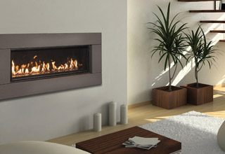 WS38 widescreen fireplace with Black Diamond burner and graphite surround in room setting