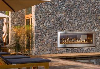 WS54 See-Thru Indoor Outdoor fireplace in outdoor setting